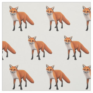Standing Red Fox Wldlife Cotton Fabric