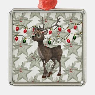 Standing Reindeer with Christmas Lights Christmas Ornaments