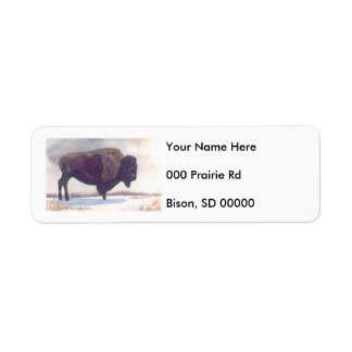 Stands Alone Bison Painting Return Address Label