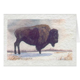 Stands Alone Buffalo Painting Card