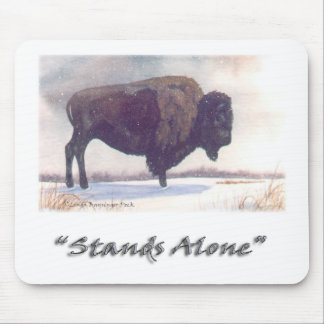 Stands Alone Winter Bison Mouse Pad
