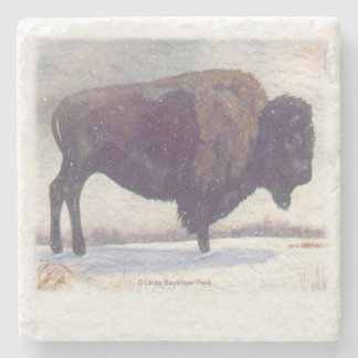 Stands Alone Winter Bison Stone Coaster