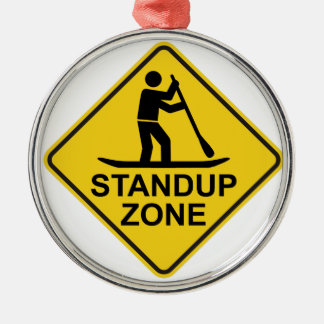 Standup Paddleboarding Zone Road Sign Metal Ornament