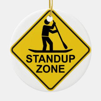 Standup Paddleboarding Zone Road Sign Round Ceramic Decoration