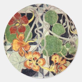 Stanisław Wyspiański ~ Art Nouveau ~ Nasturcje Classic Round Sticker