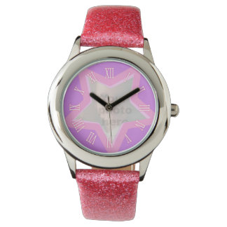 Star add your own photo pink wrist watch