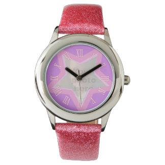 Star add your own photo pink wrist watch