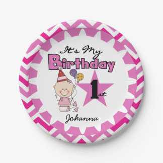 Star Baby Girl 1st Birthday Paper Plates