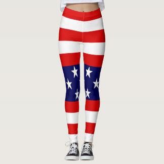 Star & Bars:  US Flags Leggings