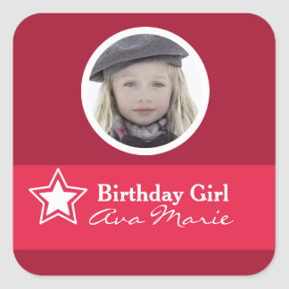 Star Birthday Girl Party Photo Square Sticker