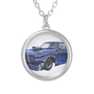 Star Blue Racing Car Silver Plated Necklace