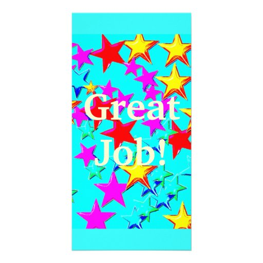 Star Bookmark Blue Customized Photo Card