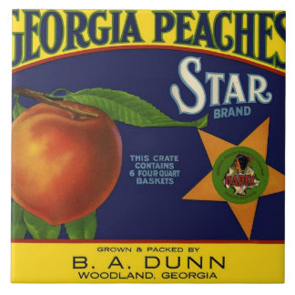 Star Brand Peach Crate Label Tile