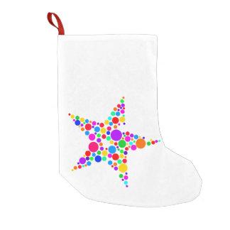 Star Bright Rainbow and White Christmas Stocking Small Christmas Stocking