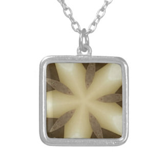 Star Brown White Rustic Design Colors Silver Plated Necklace