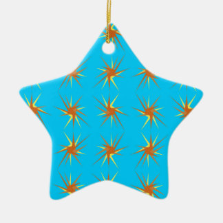 Star bursts pattern in cream and beige, turquoise ceramic ornament