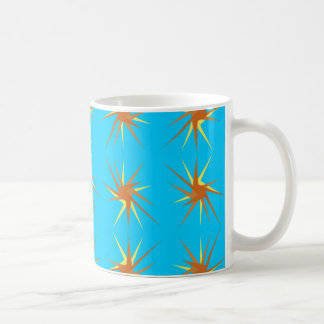 Star bursts pattern in cream and beige, turquoise coffee mug