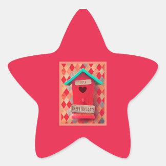 Star Christmas Bird House Stickers, Matte Star Sticker