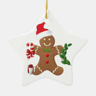 Star Christmas Ornament, Gingerbread Man Ceramic Ornament