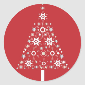 Star Christmas Tree on red background Classic Round Sticker