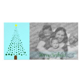 Star Christmas Tree Plain Blue Customized Photo Card