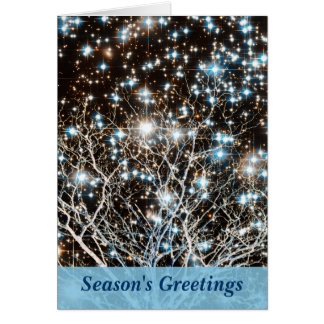 Star Cluster and White Tree Christmas Card