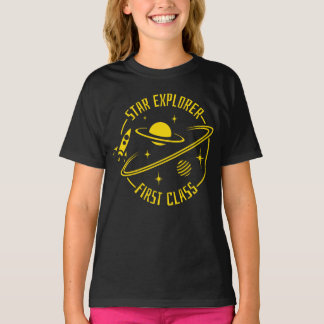 Star Explorer Girls' T-Shirt (Yellow Print)