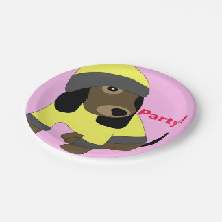 Star eye cute dressed puppy dog party paper plates