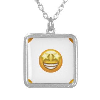 star eyes emoji silver plated necklace