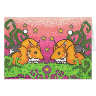 Star Fire Twin Fox Illustration Note Cards