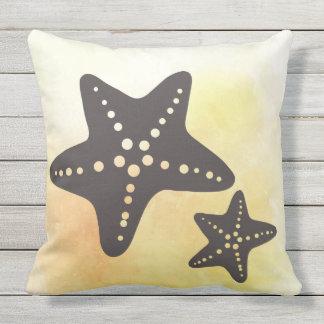 Star Fish Silhouette on Yellow Cushion