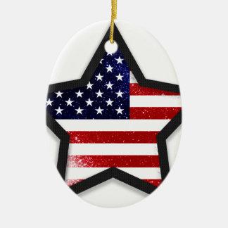 Star Flag Ceramic Oval Decoration