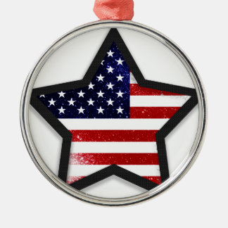 Star Flag Silver-Colored Round Decoration