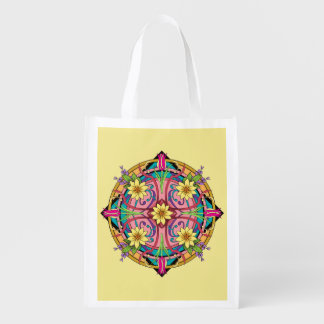 """Star Flower"" Hand drawn line artwork Reusable Grocery Bag"
