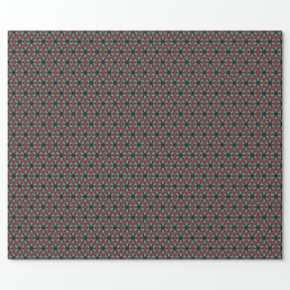 Star flower kaleidoscope on deep red brown wrapping paper