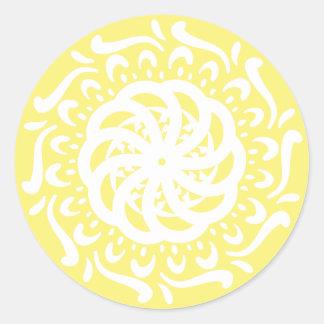 Star Fruit Mandala Classic Round Sticker