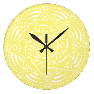 Star Fruit Mandala Large Clock