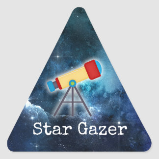 Star Gazer Gazing Telescope Blue Stars Sticker