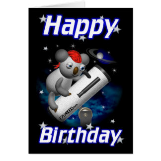 Star Gazer Koala Happy Birthday Card