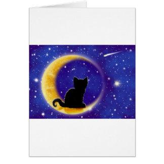 Star Gazing Cat Card