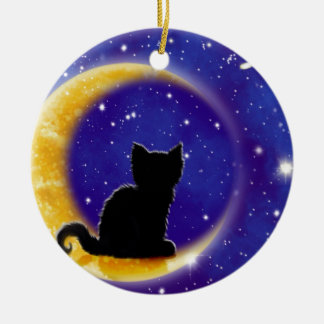Star Gazing Cat Round Ceramic Decoration