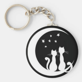 Star gazing cats basic round button key ring