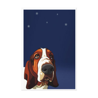 Star Gazing Hound Print on Stretched Canvas