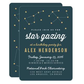 Star Gazing Kids Birthday Party Invitation