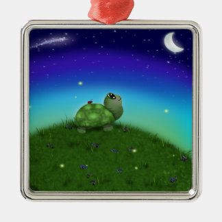 Star Gazing Turtle Silver-Colored Square Decoration