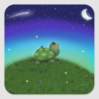 Star Gazing Turtle Square Sticker
