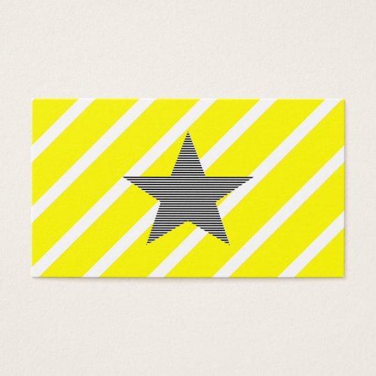 Star - geometric pattern - yellow and black. business card