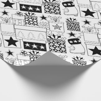 Star Gifts Line Art Design Wrapping Paper