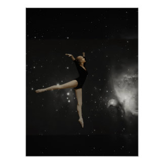 Star Girl Ballerina and Orion Nebula Poster