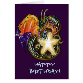 Star Glow Dragon Birthday Card